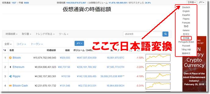 Coinmarketcap-日本語化