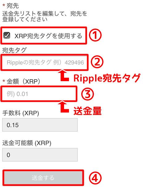 コインチェックXRP送金