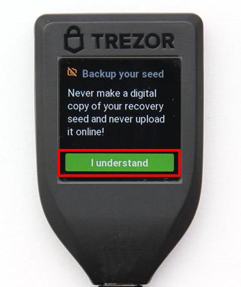 TREZOR Model T-初期設定-バックアップ